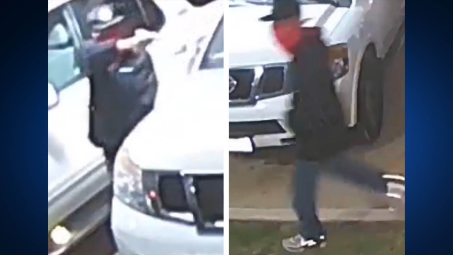 Suspect who pointed gun at someone after they tried to stop the suspect from breaking into a car at an apartment complex off East 6th Street on April 20, 2021 (APD Photo)
