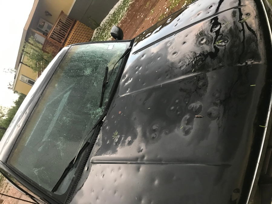 Damage to car after hailstorm on April, 12, 2021 in Llano County (Photo: Mason Lambert)