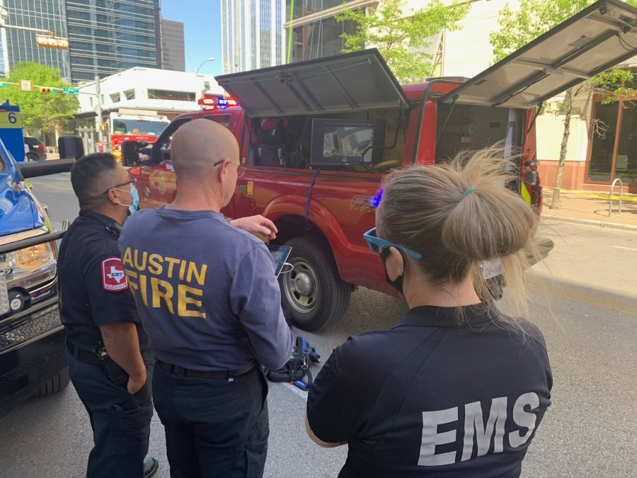 Austin Fire, EMS crews on scene of high angle rescue on Thursday, April 1 (ATCEMS Photo)