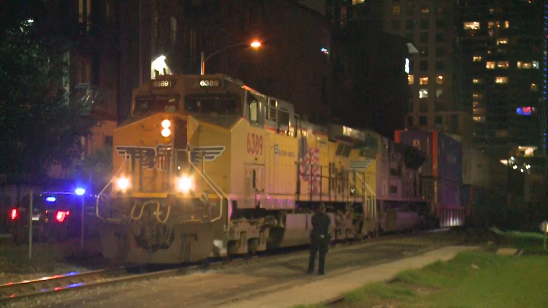 One person is dead after reports they were hit by a train near the Amtrak station in downtown Austin Friday night. (KXAN/Andy Way)