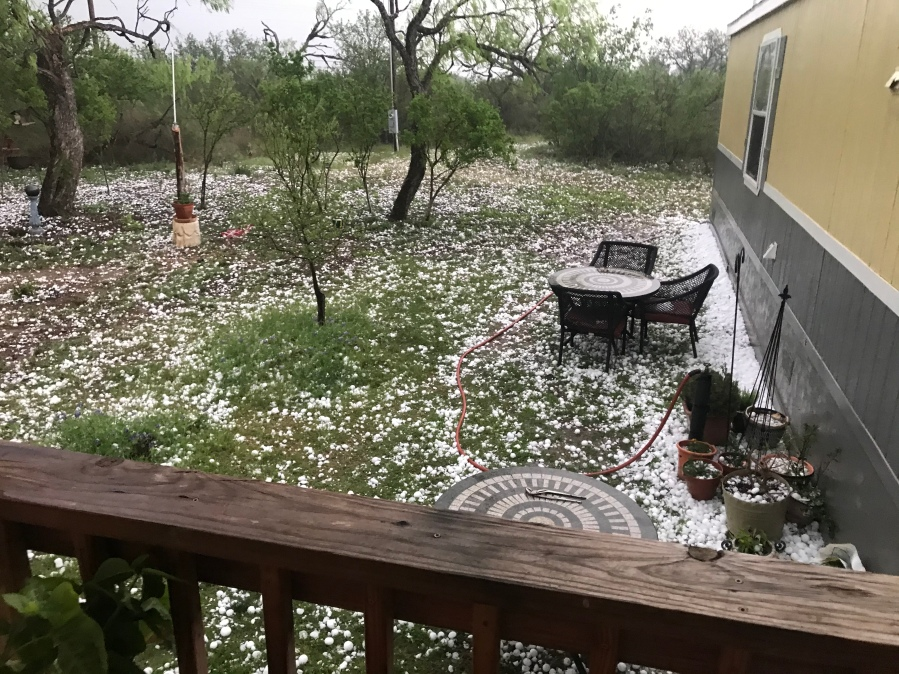 Damaging hail falls in Llano County on April 12, 2021 (Photo: Mason Lambert)