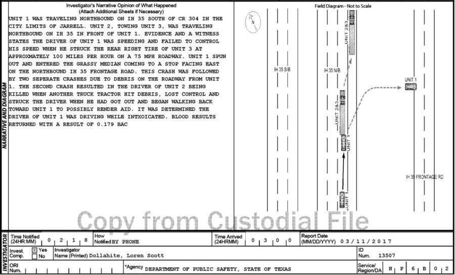 The Texas Department of Public Safety's investigative report into the crash shows Alan Dieguez's speed and blood alcohol level of 0.179; which is more than twice the legal limit of 0.08. (Texas Department of Transportation Texas Peace Officer's Crash Report Form)