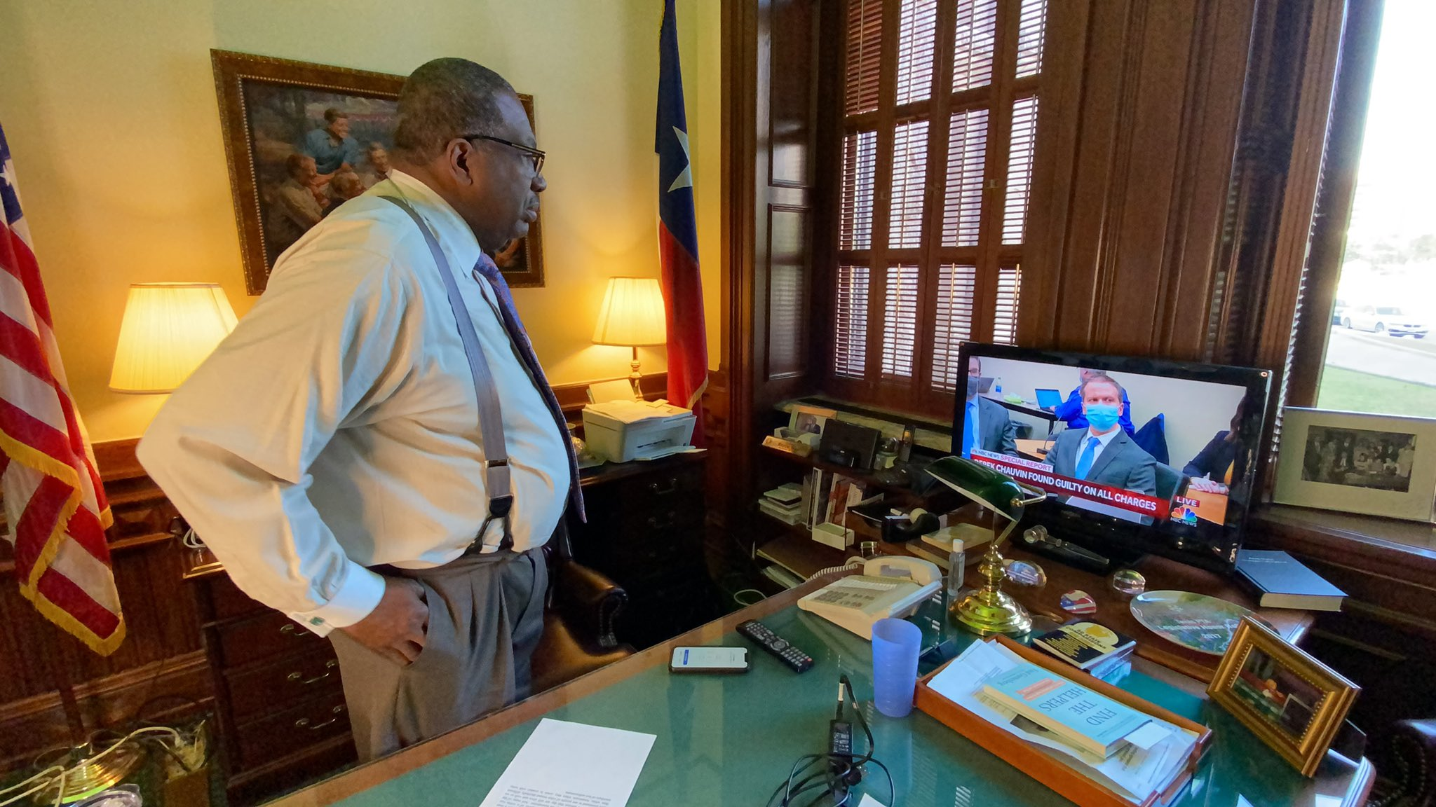 Texas Sen. Royce West watches in his office as the guilty verdict against Derek Chauvin is read April 20, 2021 (Nexstar Photo/Wes Rapaport)