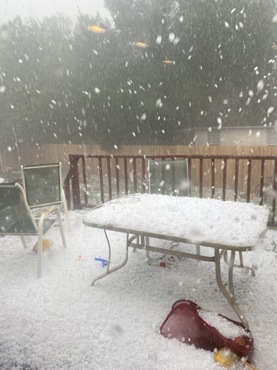Hail covering a deck in Elgin, Texas on April 15, 2021 (Courtesy: Tomea Walker)