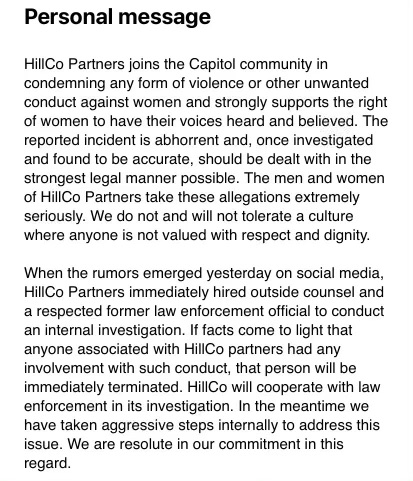 Consulting firm issues statement after reports on Capitol staffer