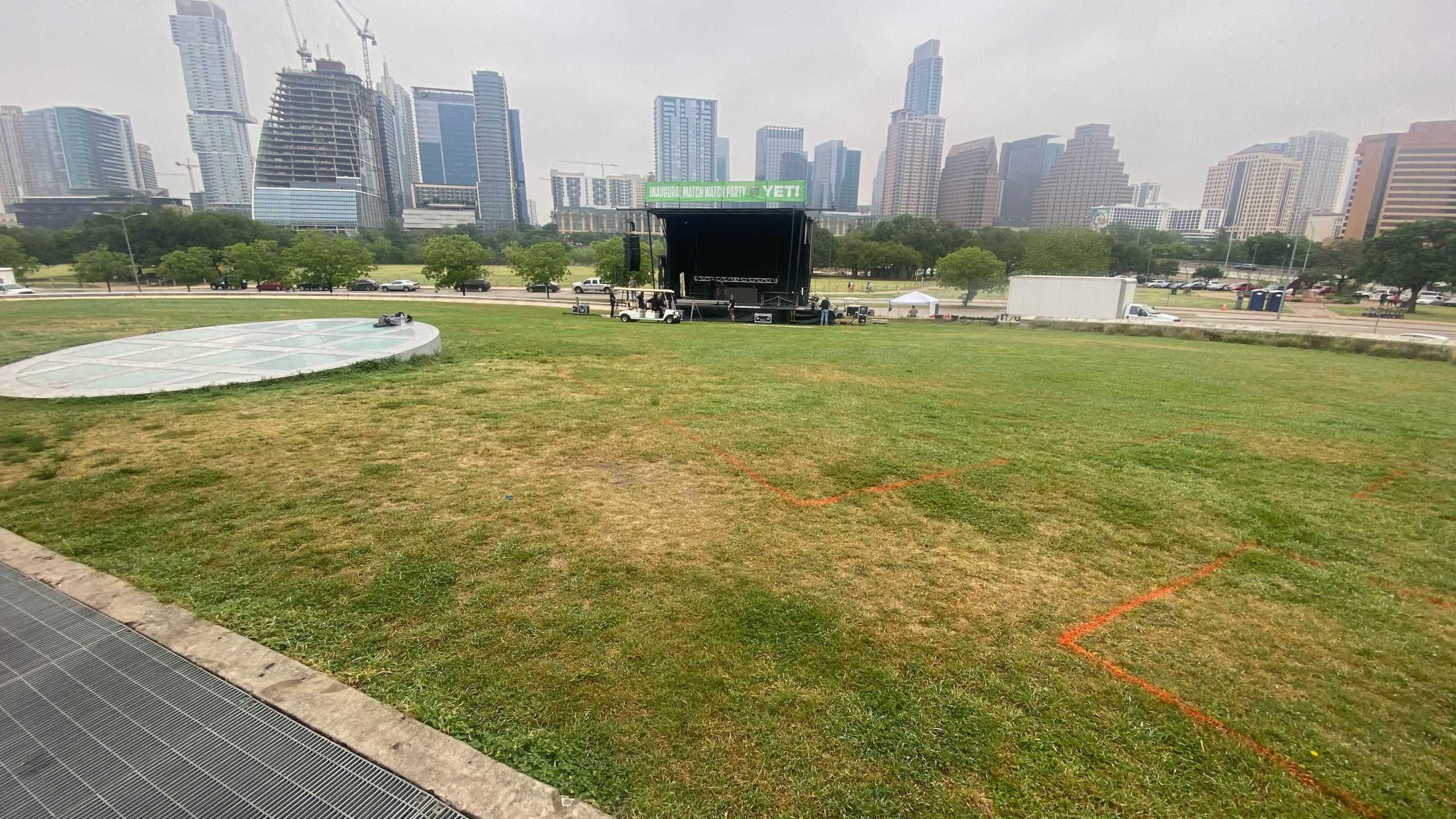Crews were at the Long Center getting ready for Saturday's Austin FC watch party (KXAN/Todd Bynum)