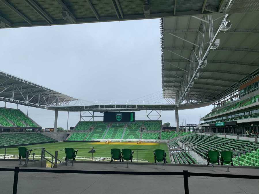 Austin FC Q2 Stadium field from Verde Store