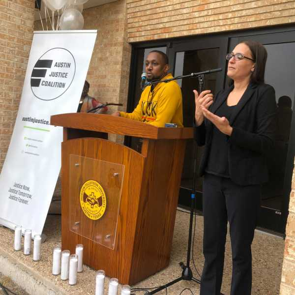 Austin Justice Coalition hosts vigil and rally at Huston-Tillotson University after the Derek Chauvin trial and guilty verdict (KXAN Photo/Frank Martinez)