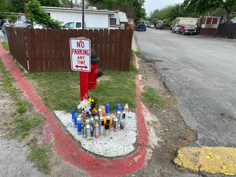 Memorial for juvenile victim killed in north Austin shooting on Sunday, April 25, 2021 (KXAN Photo/Alex Caprariello)