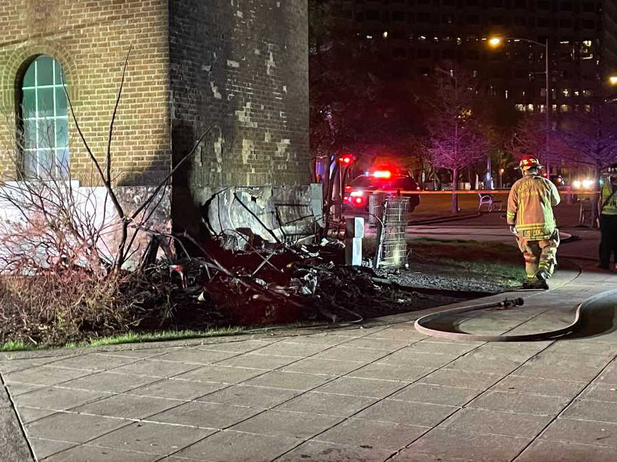What's left after fire from homeless camp spreads to Buford Tower in downtown Austin (KXAN Photo/Tim Holcomb)