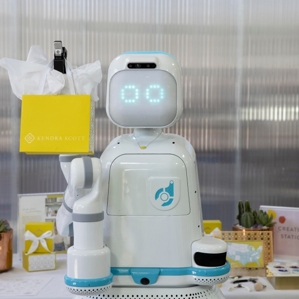 Moxi, an A.I. robot created by Austin-based Diligent Robotics, is helping Kendra Scott deliver jewelry to pediatric cancer patients in the Kendra Cares program. (Kendra Scott/Diligent Robotics photo)