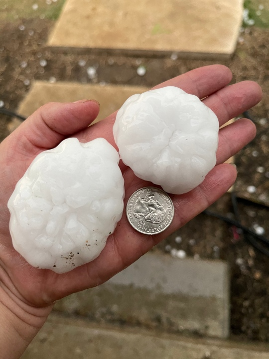 Hail in Llano County on April 12, 2021 - from Melissa Cunningham