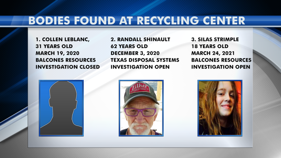 Three bodies were found, all within approximately one year, at various recycling centers in Travis County.