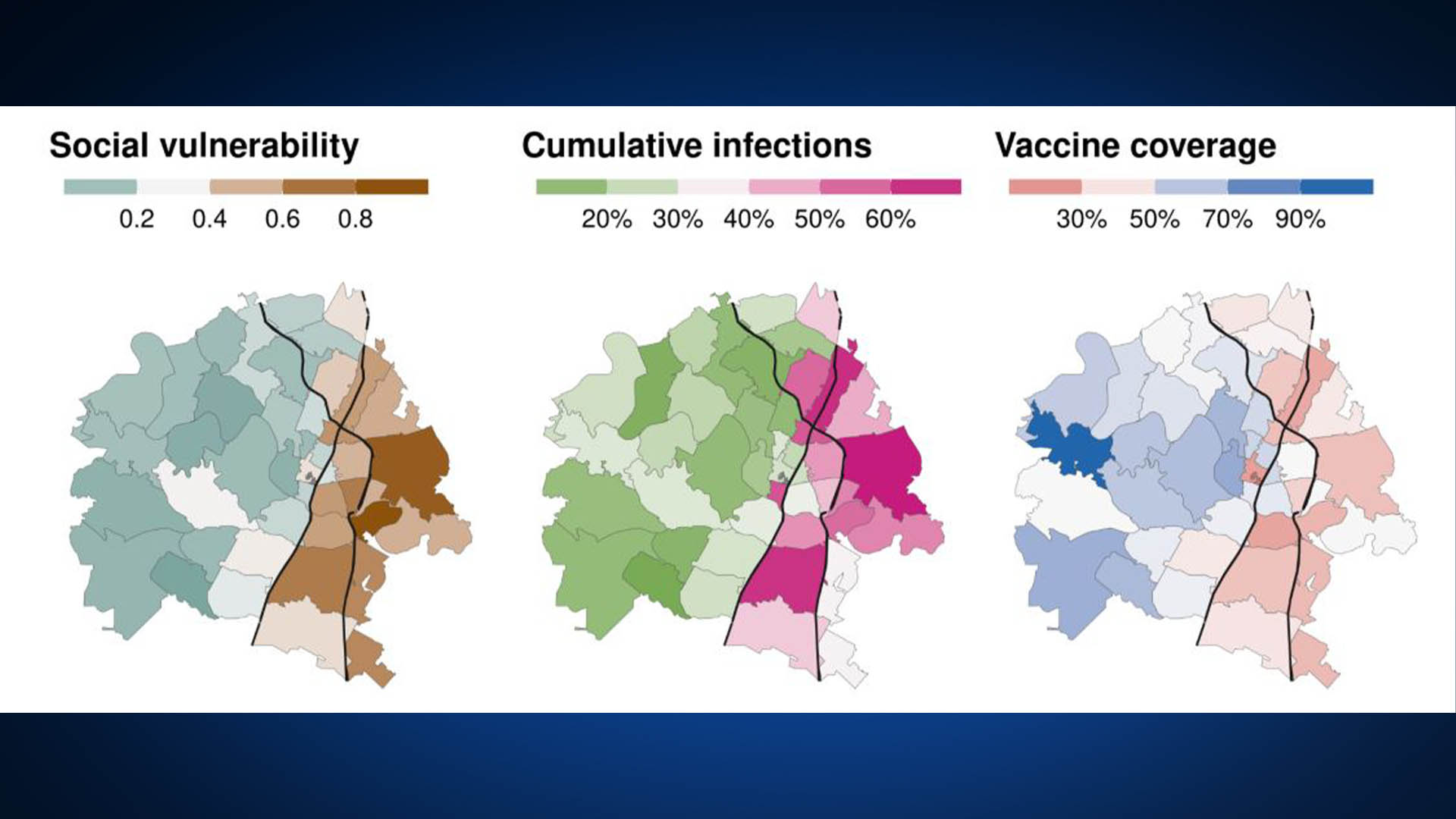 Estimated social vulnerability, cumulative infections and vaccine coverage across the City of Austin (Source: UT Austin COVID-19 Modeling Consortium)