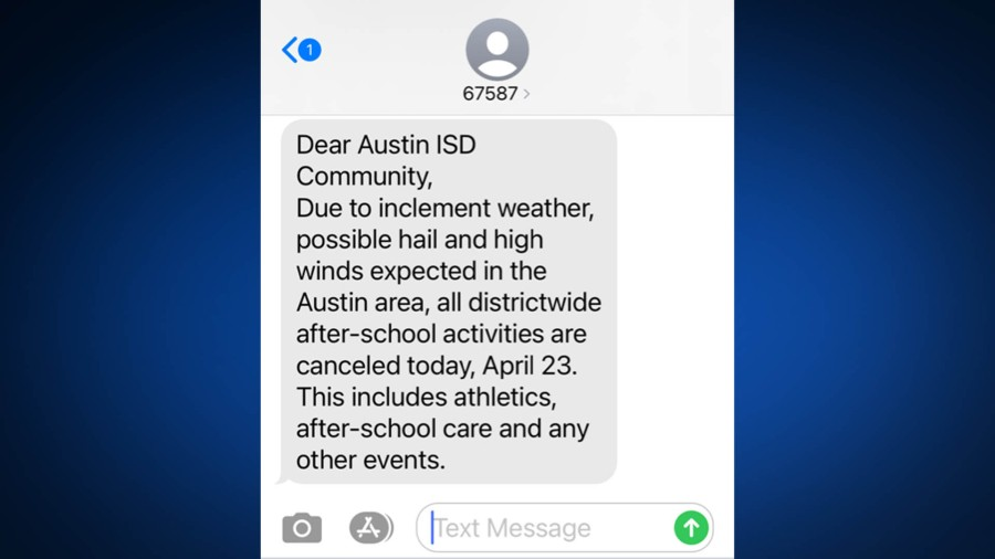 Austin ISD text message alerting parents to afterschool cancellations due to the weather (KXAN Photo)