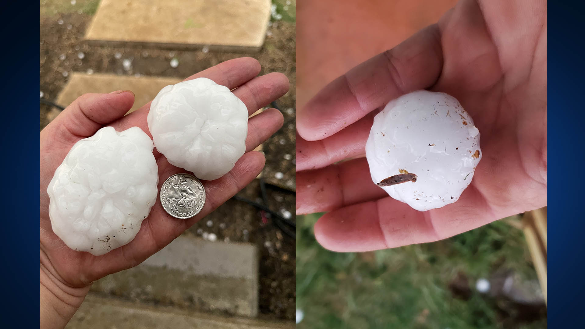 Hail in Llano County on April 12, 2021 (Left: Melissa Cunningham, Right: Matt Baker)