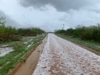 Hail between Holda and Doss in southern Mason County on April 15, 2021 (Courtesy: John Spencer)