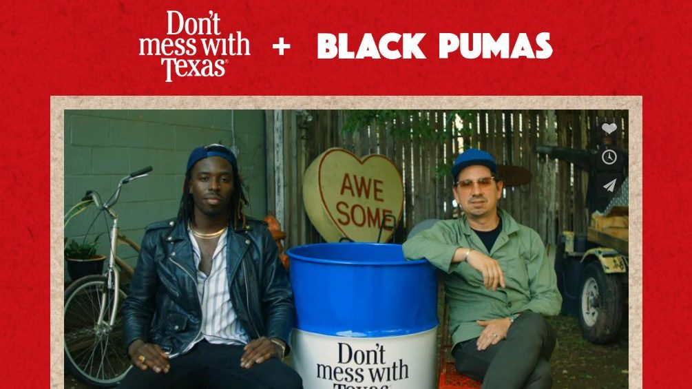 Black Pumas is teaming up with Don't mess with Texas to help clean up Texas highways (Screenshot from website https://www.txisblackpumas.com/)