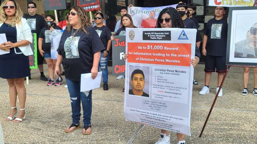Mother of Chris Martinez and his wife speak at press conference, asking people to come forward with information about his suspected killer (KXAN Photo/Andrew Choat)