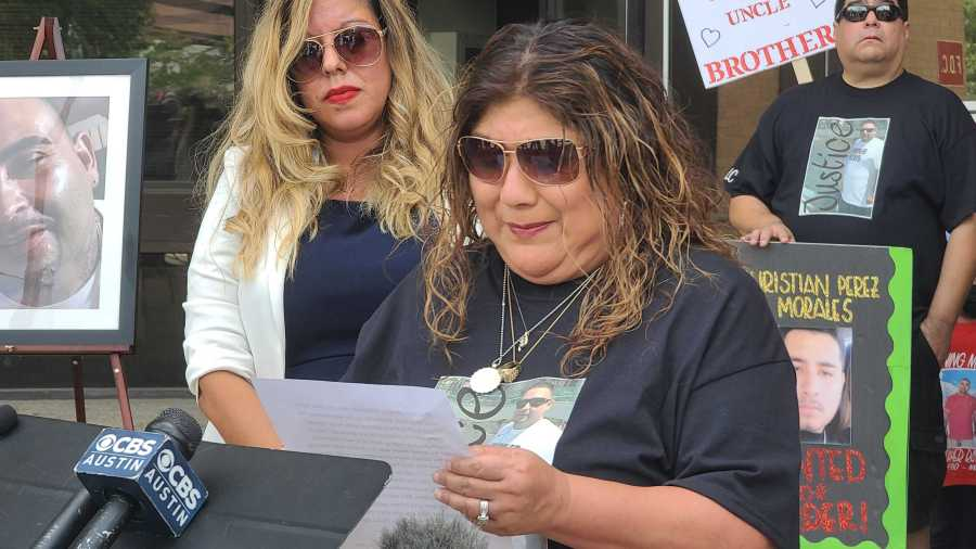 Mother of Chris Martinez speaks at press conference, asks for help from the public to find her son's killer (KXAN Photo/Andrew Choat)