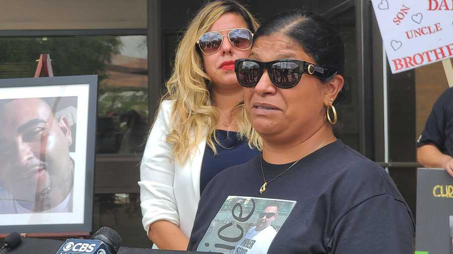 Wife of Chris Martinez speaks at press conference on May 25, 2021 (KXAN Photo/Andrew Choat)