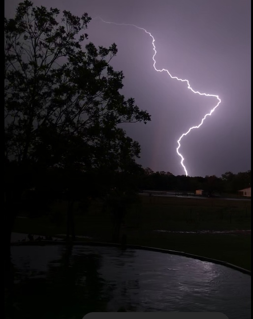 Lightning captured in Engle in Fayette County (Courtesy of Stephen Crim)