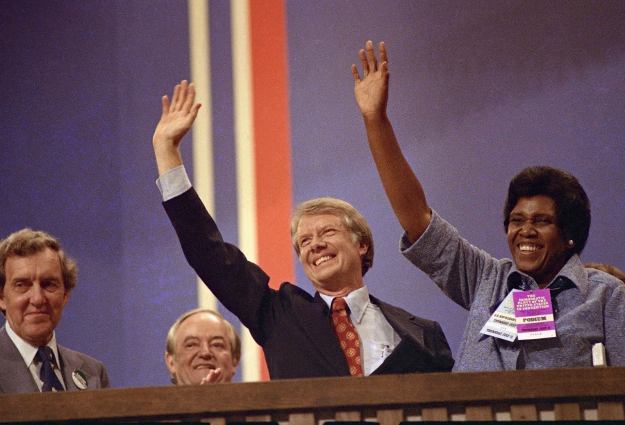 Barbara Jordan (D-Tex. Rep.), right, with Jimmy Carter shown at the Democratic National Convention in New York's Madison Square Garden where she gave a speech, July 12, 1976.  (AP Photo)