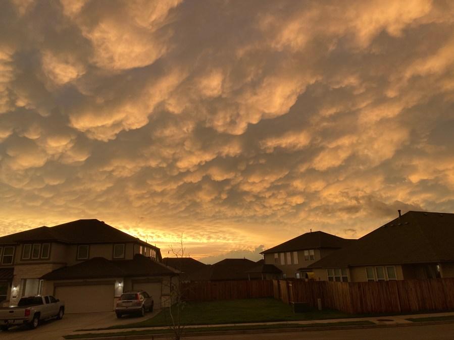 Mammatus clouds in Pflugerville (Courtesy Brad Perine)
