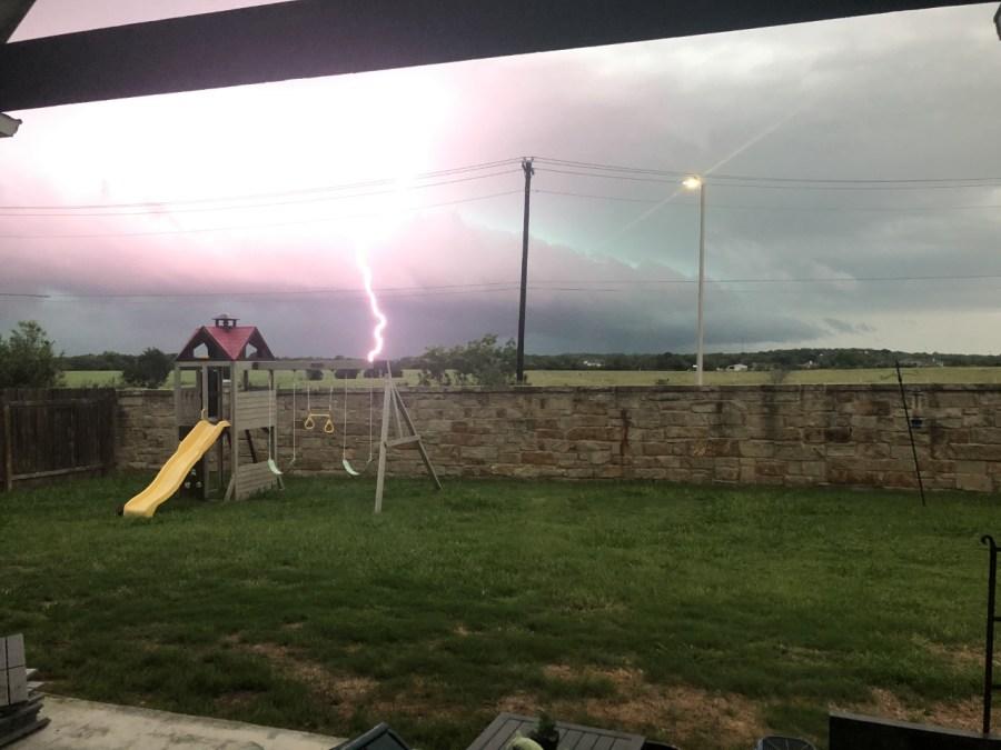 Lightning strike in Leander on Journey Parkway (Courtesy of Courtney Lane)