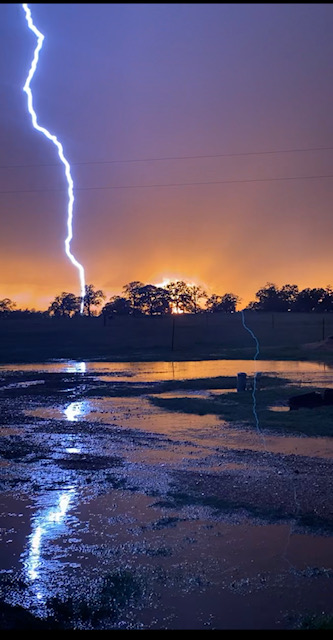 Lightning in Giddings, Texas (Courtesy Faydra Grimm)