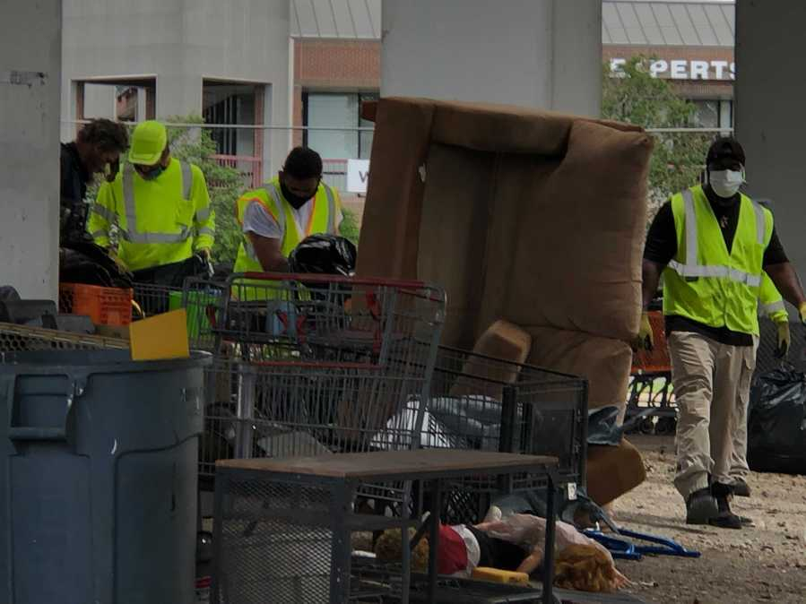 Homeless camp cleanup at Highway 183 and Burnet Road1