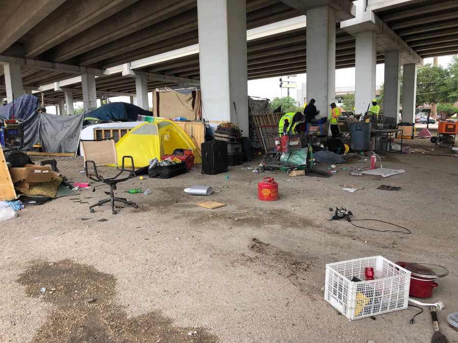 Homeless camp cleanup at Highway 183 and Burnet Road2