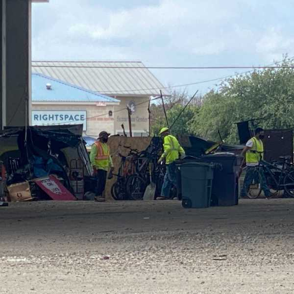 Homeless camp cleanup at U.S. Highway 183 and Burnet Road (KXAN Photo)