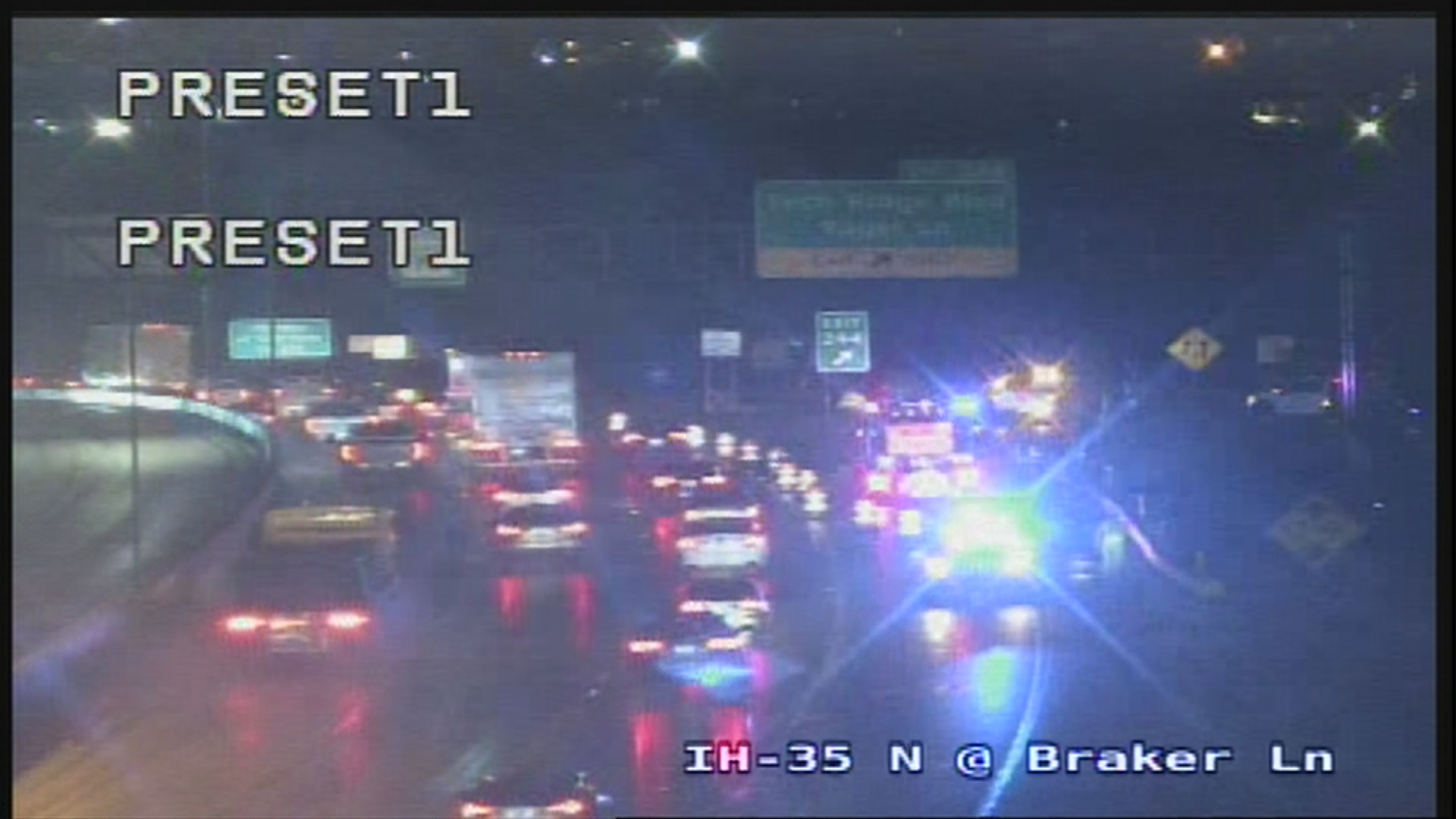 Fatal crash shuts down traffic on I-35 northbound frontage road at Braker Lane (TxDOT Photo)