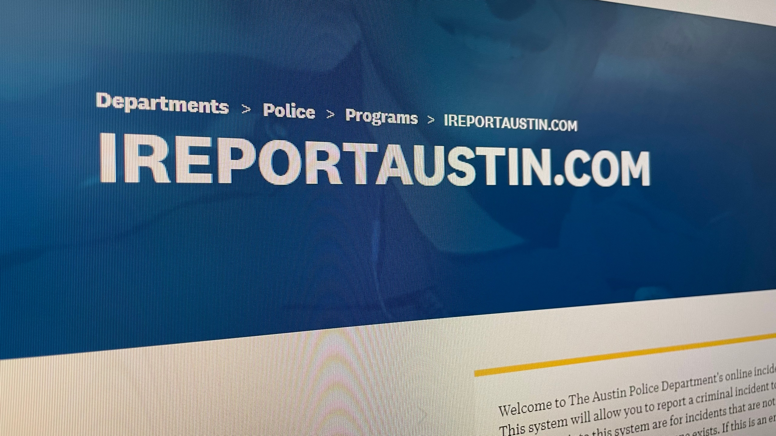 Photo of website to make a crime report with Austin Police Department (KXAN Photo/Jaclyn Ramkissoon)