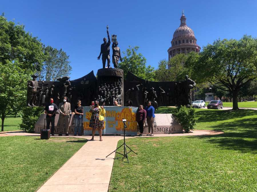 Advocates gathered at the Texas African American History Memorial May 5, 2021 to support bills that would abolish slavery in the state (KXAN Photo/Frank Martinez)