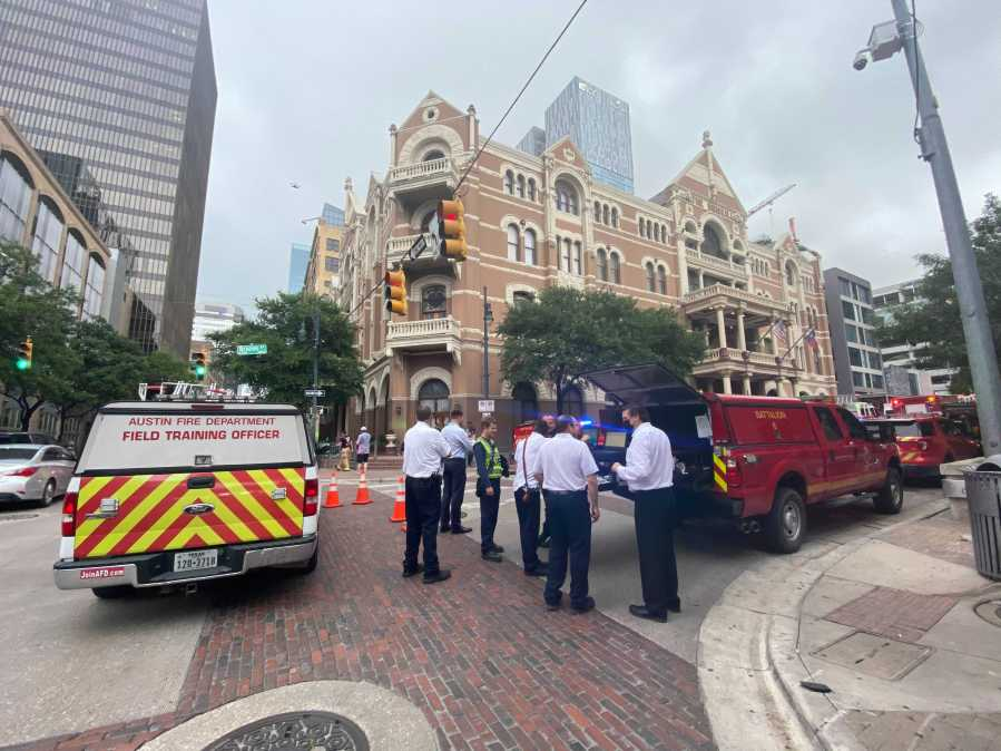 Austin Fire crews respond to a small fire on the 10th floor of the Driskill hotel on May 17, 2021. (KXAN photo/Nabil Remadna)