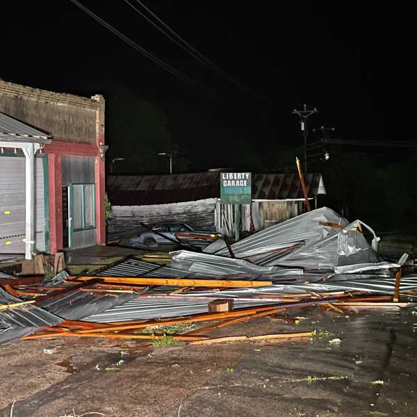 Damage at the Red Rock General Store in Bastrop County (KXAN Photo/Tim Holcomb)