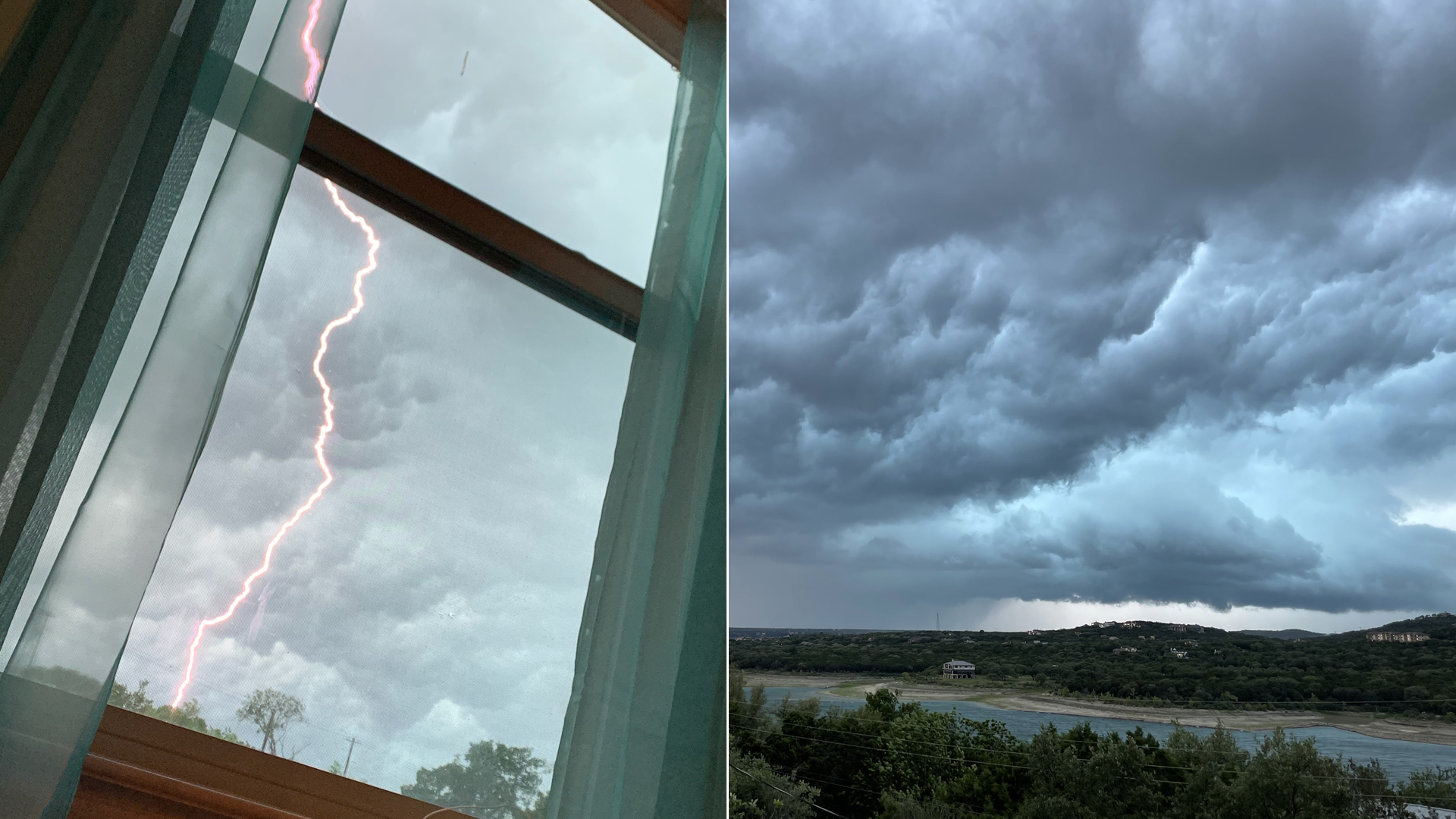 Lightning photo from Shaylee Beyer in Leander/Cedar Park area. Storm clouds photo from Holly Steinkamp over Lake Travis.