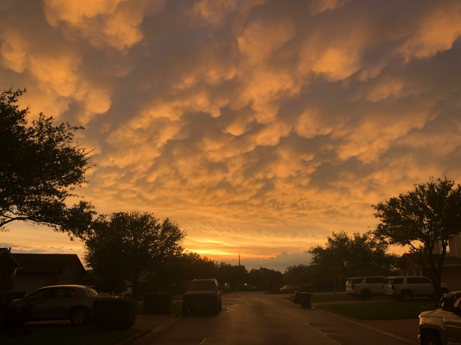 Mammatus clouds over Hutto after the storms (Courtesy of Krystal Stinson)