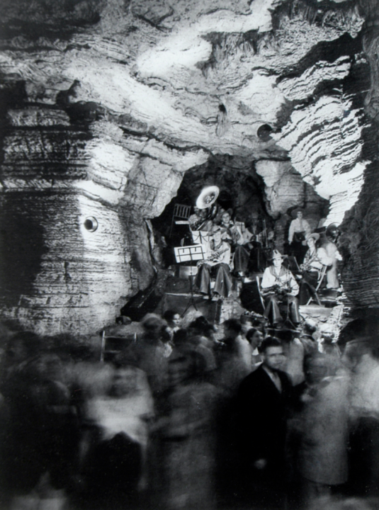 A photograph circa 1932-34 shows a band preparing to play for an audience inside Longhorn Cavern. (Courtesy Longhorn Cavern State Park)