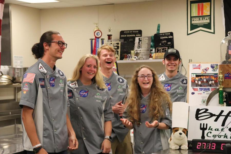 SPACE DAWG team members Jacey Huston, Will Rundzieher, Nicholai Rowland, Matthew Thrane and Bridget Bristow (KXAN)
