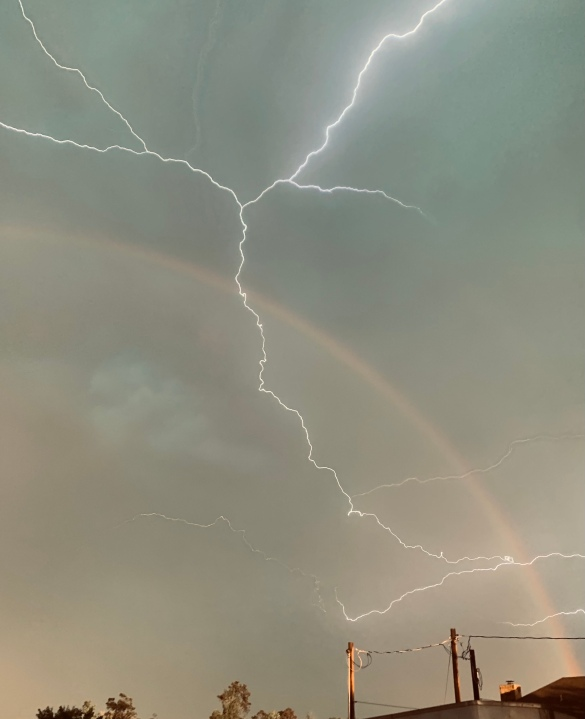 Lightning, rainbow in Bastrop, Texas (Courtesy Natalie Campbell)