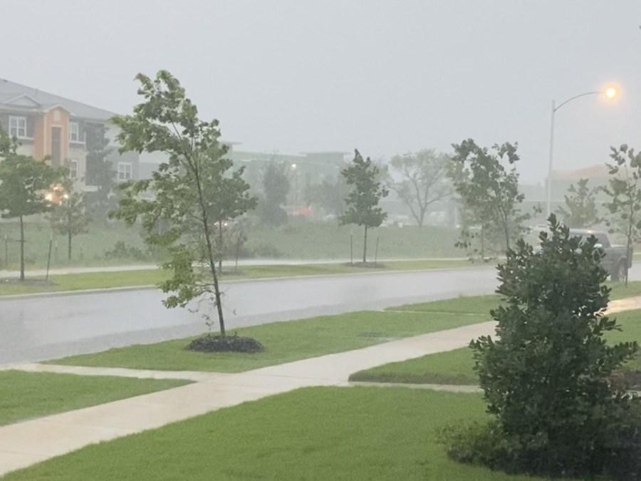 Heavy rain on Slaughter Lane (Courtesy of Nicole Vondall)