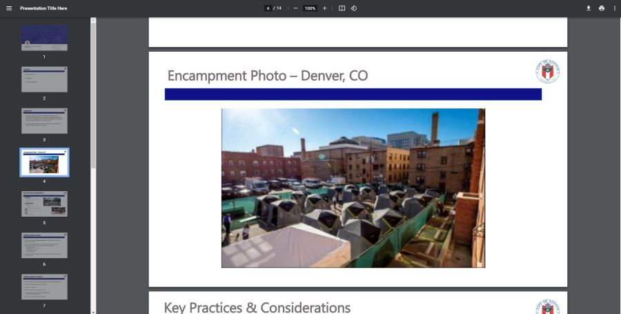 A slide from Tuesday's presentation shows an example of an encampment in Denver, Colorado. (City of Austin)