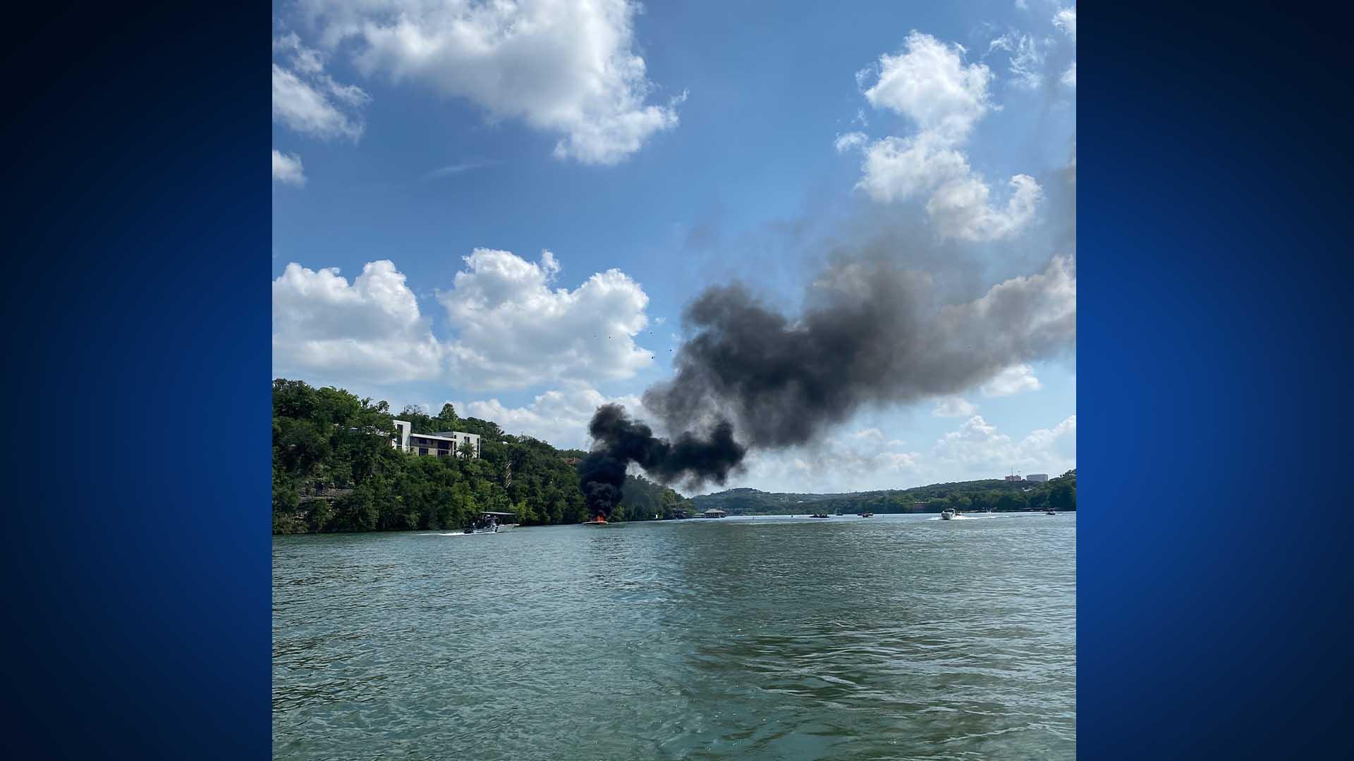 Boat explodes on Lake Austin May 21, 2021 (Courtesy Nick Matzorkis)