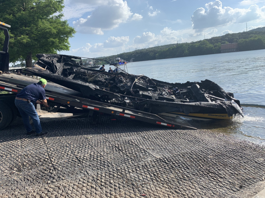 Boat pulled out of the water in Lake Austin after explosion (Austin Fire Photo)