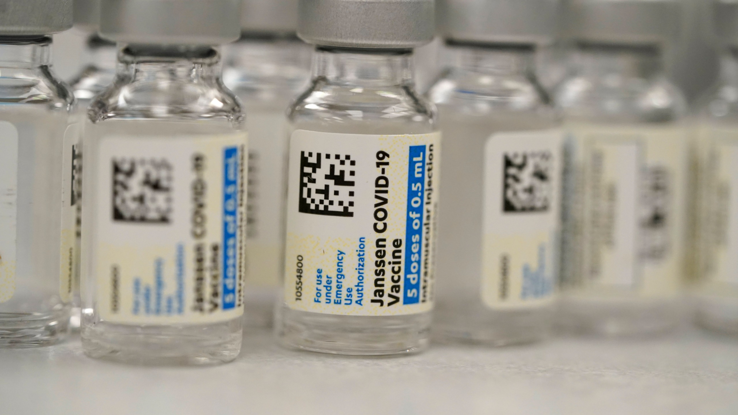 FILE - This Saturday, March 6, 2021 file photo shows vials of Johnson & Johnson COVID-19 vaccine in the pharmacy of National Jewish Hospital for distribution in east Denver. (AP Photo/David Zalubowski, File)