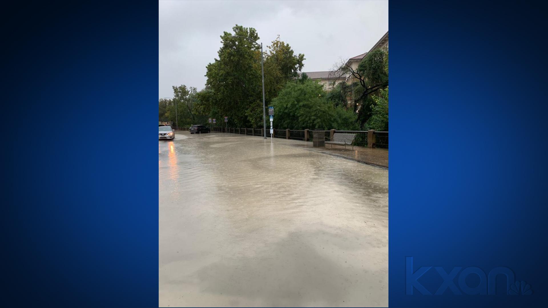 San Jacinto Boulevard and 21st Street flooding Sept. 9 (UT Austin Police Photo)