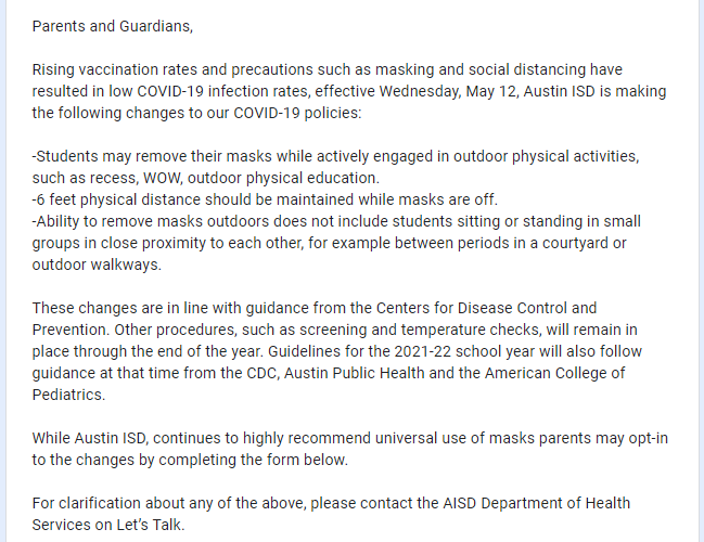Email sent to parents of students at an Austin ISD elementary school on May 12, 2021 (KXAN Photo)